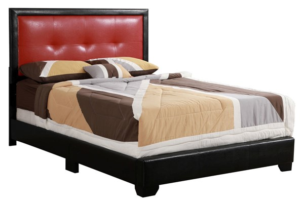 Glory Furniture Panello Black Red Faux Leather Queen Bed GLRY-G2589-QB-UP