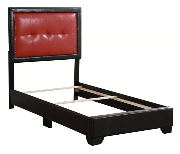 Glory Furniture Panello Contemporary Black Red Twin Bed with Padded Headboard GLRY-G2589-TB-UP