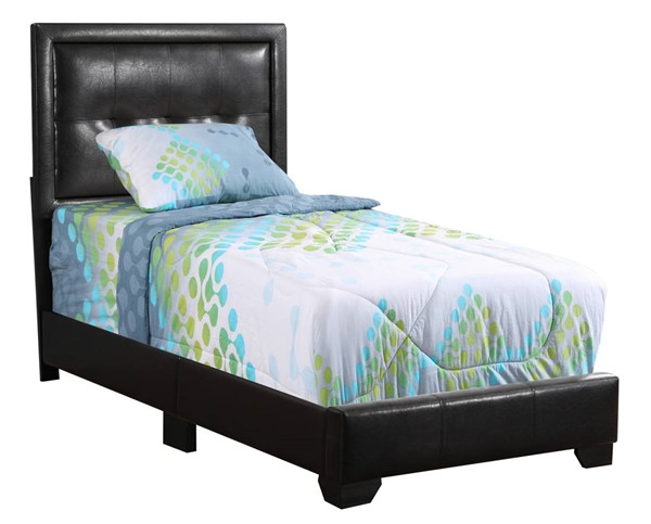 Glory Furniture Panello Black Faux Leather Twin Bed GLRY-G2590-TB-UP