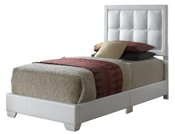 Glory Furniture Panello Contemporary White Twin Bed with Padded Headboard GLRY-G2594-TB-UP