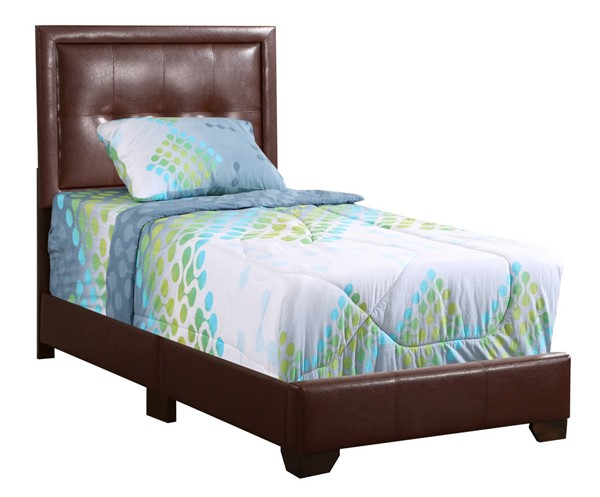 Glory Furniture Panello Light Brown Faux Leather Twin Bed GLRY-G2596-TB-UP