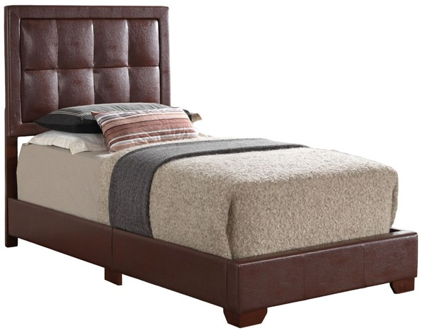 Glory Furniture Panello Contemporary Light Brown Twin Bed with Padded Headboard GLRY-G2596-TB-UP