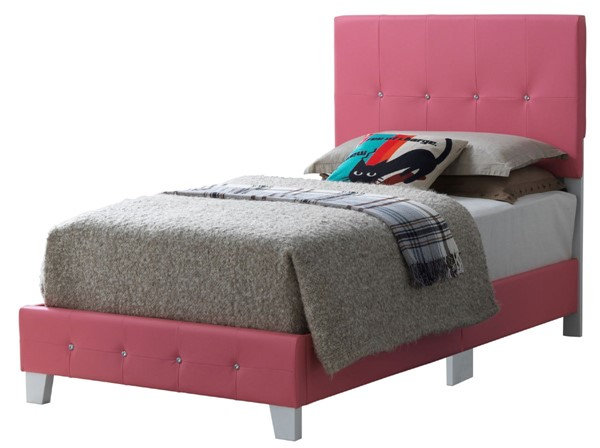 Glory Furniture Rose Pink Faux Leather Twin Bed GLRY-G2617-TB-UP