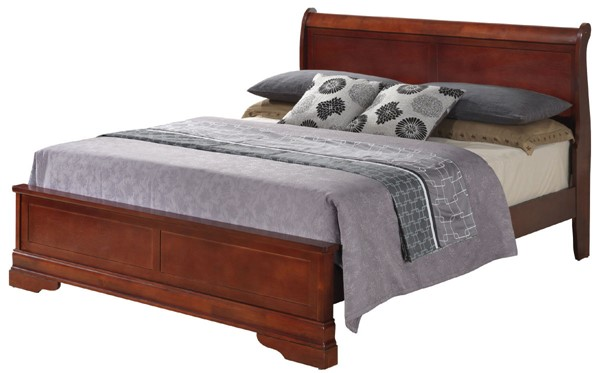 Glory Furniture Louis Phillipe Traditional Cherry Queen Panel Bed GLRY-G3100E-QB3