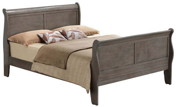 Glory Furniture Louis Phillipe Traditional Gray King Sleigh Bed GLRY-G3105A-KB