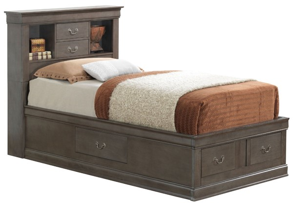 Glory Furniture Louis Phillipe Traditional Gray Twin Storage Platform Bed GLRY-G3105B-TSB
