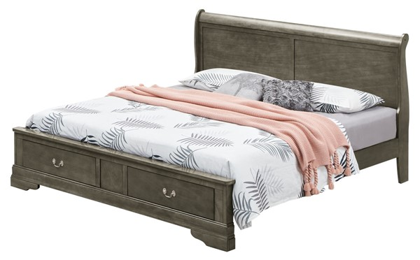 Glory Furniture Louis Phillipe Gray Queen Storage Bed GLRY-G3105D-QSB2