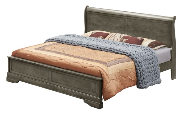 Glory Furniture Louis Phillipe Traditional Gray Queen Panel Bed GLRY-G3105E-QB3
