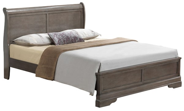 Glory Furniture Louis Phillipe Traditional Gray King Panel Bed GLRY-G3105E-KB3