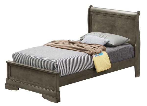 Glory Furniture Louis Phillipe Traditional Gray Twin Panel Bed GLRY-G3105E-TB3