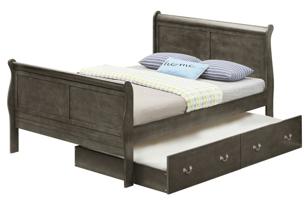 Glory Furniture Louis Phillipe Gray Full Trundle Bed GLRY-G3105G-FTB