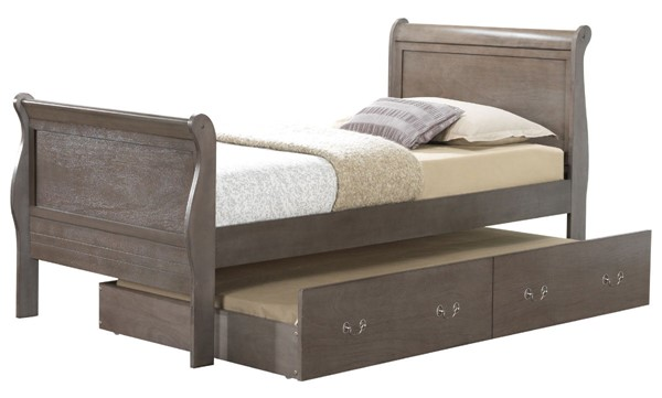 Glory Furniture Louis Phillipe Traditional Gray Twin Trundle Bed GLRY-G3105G-TTB