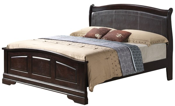 Glory Furniture Louis Phillipe Cappuccino Faux Leather King Bed GLRY-G3125C-KB2