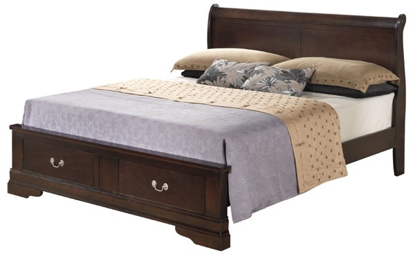Glory Furniture Louis Phillipe Traditional Cappuccino King Storage Bed GLRY-G3125D-KSB2