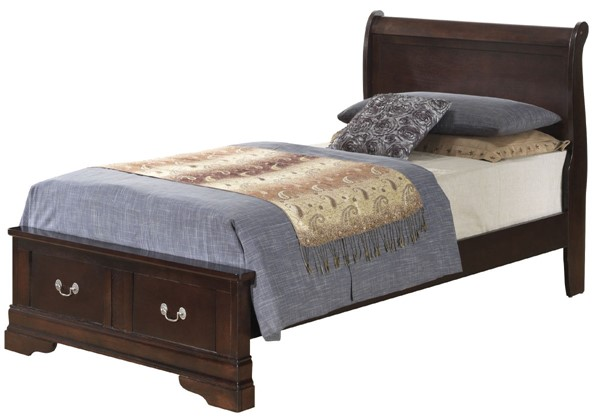 Glory Furniture Louis Phillipe Traditional Cappuccino Twin Storage Bed GLRY-G3125D-TSB2
