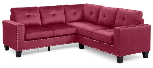 Glory Furniture Nailer Transitional Burgundy Sectional GLRY-G312B-SC