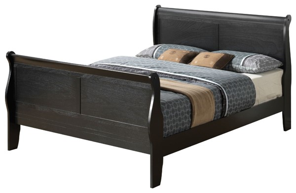 Glory Furniture Louis Phillipe Traditional Black Queen Sleigh Bed GLRY-G3150A-QB