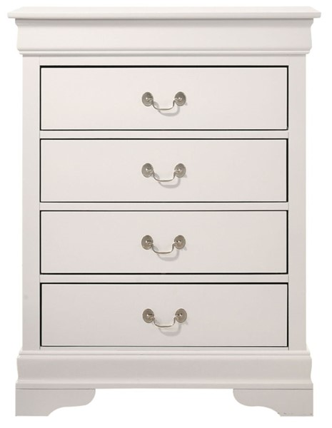 Glory Furniture Louis Phillipe Traditional White 4 Drawer Chest GLRY-G3190-BC