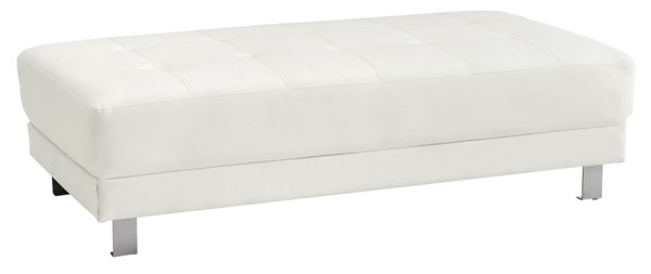 Glory Furniture Riveredge Contemporary White Faux Leather Milan Ottoman GLRY-G449-O