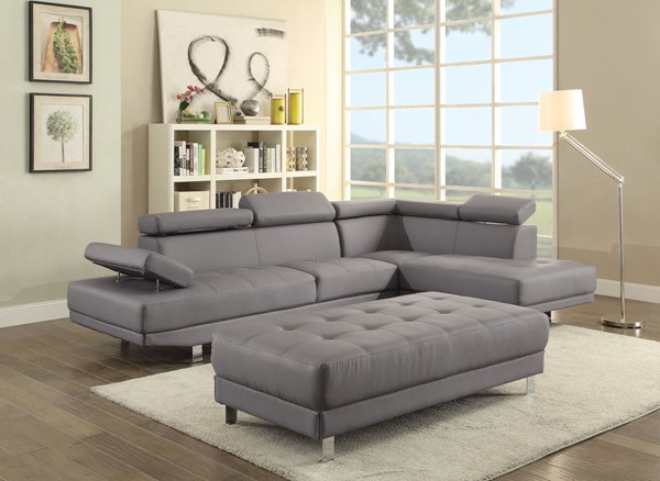 Glory Furniture Riveredge Gray Faux Leather Sectional with Ottoman GLRY-G452-LR-S3