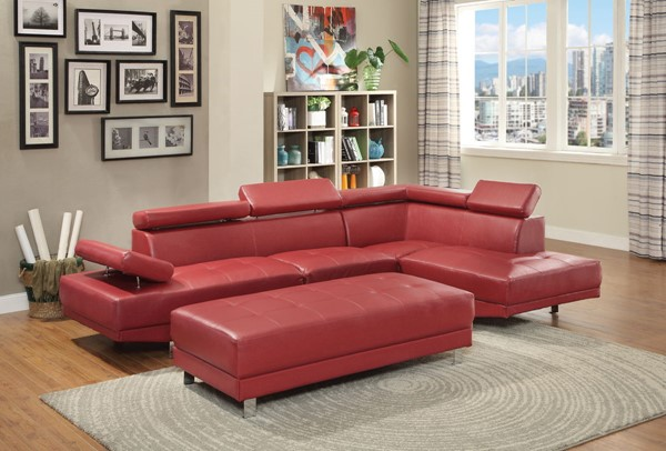 Glory Furniture Riveredge Red Faux Leather Sectional with Ottoman GLRY-G456-LR-S5