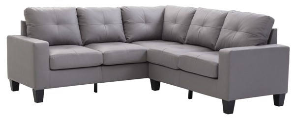 Glory Furniture Newbury Gray Faux Leather Sectional with Ottoman GLRY-G461B-LR-S1
