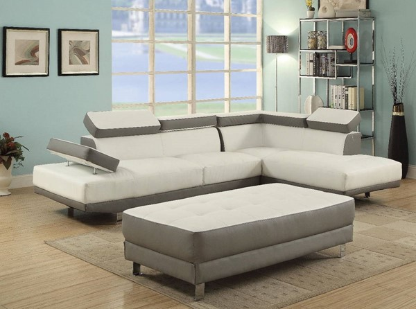 Glory Furniture Riveredge Gray Faux Leather White Sectional with Ottoman GLRY-G478-LR-S6