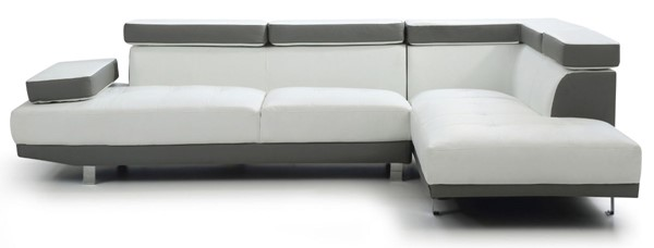 Glory Furniture Riveredge Gray Faux Leather White Sectional GLRY-G478-SC