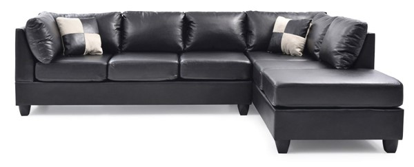 Glory Furniture Malone Contemporary Black Faux Leather Sectional GLRY-G643B-SC