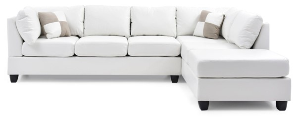 Glory Furniture Malone White Faux Leather Sectional GLRY-G647B-SC