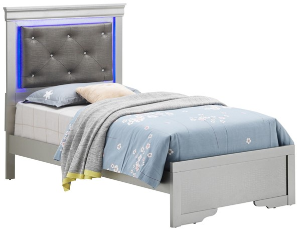 Glory Furniture Lorana Silver Champagne Leather Twin Bed GLRY-G6500C-TB3