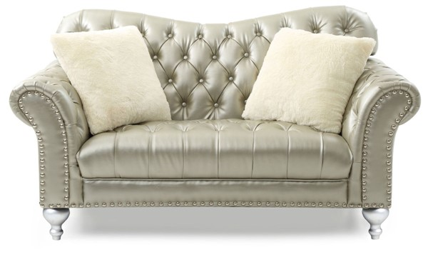Glory Furniture Woodbridge Contemporary Gold Silver Loveseat GLRY-G704-L