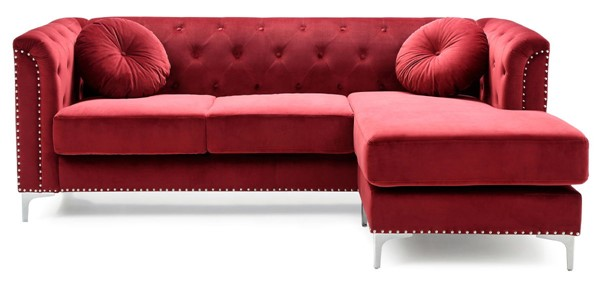 Glory Furniture Pompano Contemporary Burgundy Sofa Chaise GLRY-G789B-SC