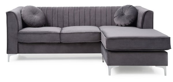 Glory Furniture Delray Gray Velvet Microsuede Sofa Chaise GLRY-G790B-SC