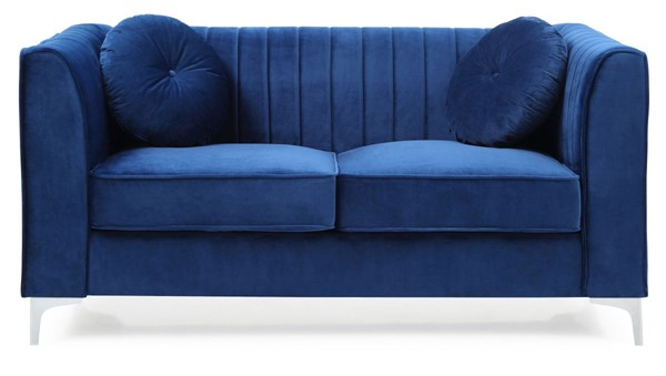 Glory Furniture Delray Navy Blue Velvet Microsuede Loveseat GLRY-G791A-L