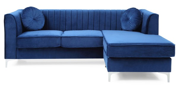 Glory Furniture Delray Navy Blue Velvet Microsuede Sofa Chaise GLRY-G791B-SC