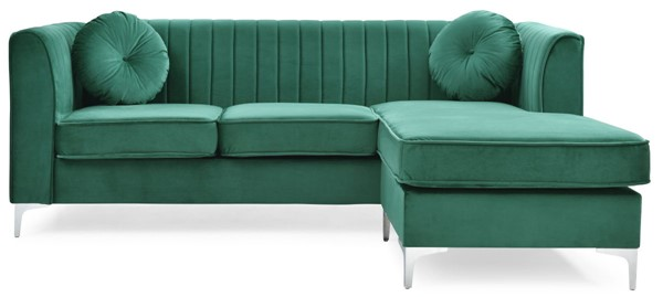Glory Furniture Delray Green Velvet Microsuede Sofa Chaise GLRY-G792B-SC