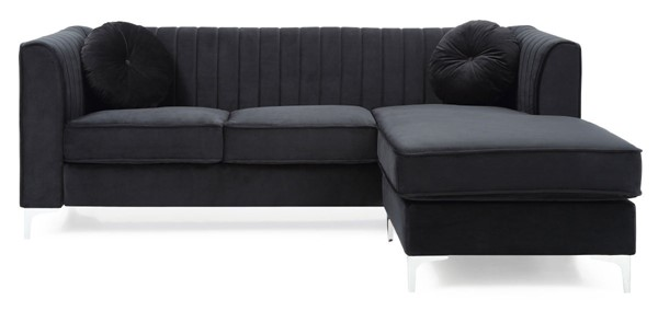 Glory Furniture Delray Black Velvet Microsuede Sofa Chaise GLRY-G793B-SC