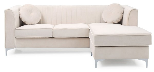 Glory Furniture Delray Ivory Velvet Microsuede Sofa Chaise GLRY-G797B-SC
