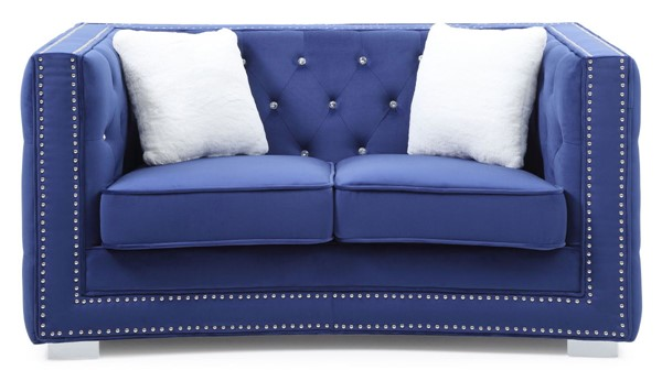 Glory Furniture Miami Blue Velvet Fabric Loveseat GLRY-G801-L