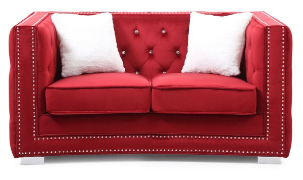 Glory Furniture Miami Transitional Red Loveseat GLRY-G809-L