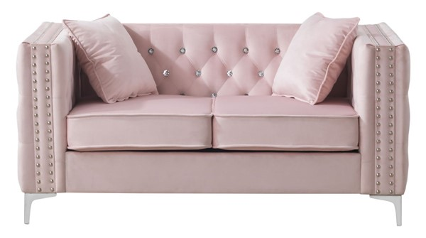Glory Furniture Paige Pink Velvet Loveseat GLRY-G824A-L