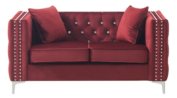 Glory Furniture Paige Burgundy Velvet Loveseat GLRY-G826A-L