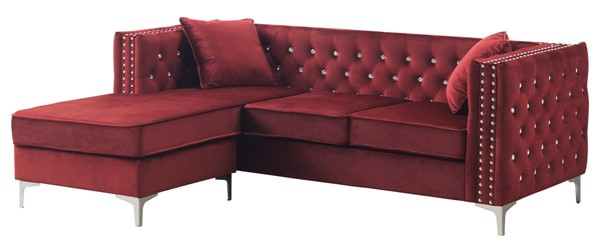 Glory Furniture Paige Burgundy Sofa Chaise GLRY-G826B-SC