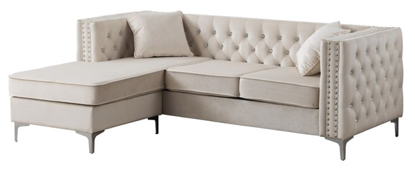Glory Furniture Paige Ivory Velvet Sofa Chaise GLRY-G827B-SC