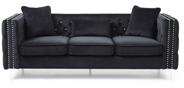Glory Furniture Paige Black Velvet Sofa GLRY-G828A-S