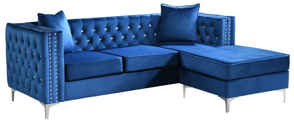 Glory Furniture Paige Blue Velvet Sofa Chaise GLRY-G829B-SC