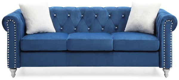 Glory Furniture Raisa Navy Blue Velvet Sofa GLRY-G861A-S