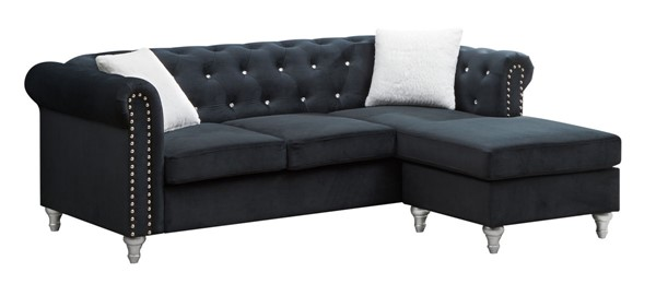 Glory Furniture Raisa Black Velvet Sofa Chaise GLRY-G863B-SCH