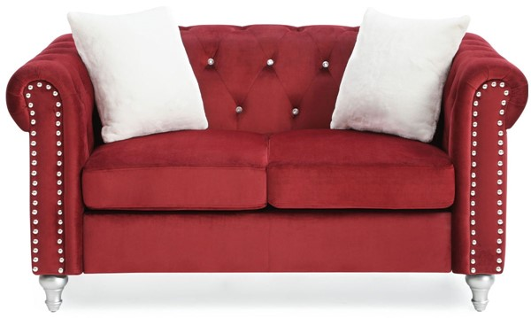 Glory Furniture Raisa Contemporary Burgundy Loveseat GLRY-G869A-L